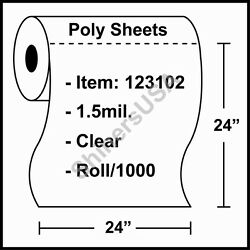 1.5 Mil Poly Sheets 24x24 Clear - Roll/1000 Plastic Drop Cloth Cover 123102