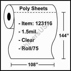 1.5 Mil Poly Sheets 108x144 Clear - Roll/75 Plastic Drop Cloth Cover 123116