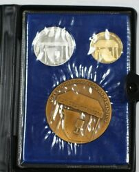 1978 Israel Gold Silver And Bronze 3 Piece Wedding State Medal Set With Case And Coa