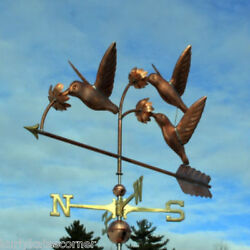 Copper Hummingbird Weathervane With Copper Balls And Brass Directionals 397