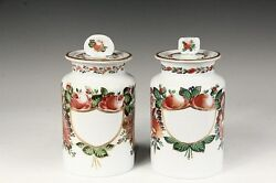 Antique French Opaline Glass Apothecary Jars Hand Painted White Glass 19th C.