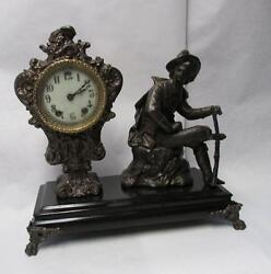 Antique 1800s Figural Gilbert Shelf Or Mantle Clock In Working Condition W/ Key
