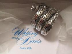 Vintage Whiting And Davis Snake Silver Mesh Bracelet Three 3 Coils Nfos