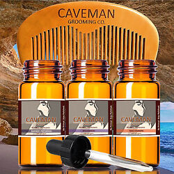Hand Crafted Caveman CHOOSE YOUR OWN 3 SCENTS Beard Oil conditioner FREE Comb