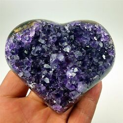 3.29 209g Amazing Amethyst Geode Heart With Gemmy Crystals From Uruguay A115