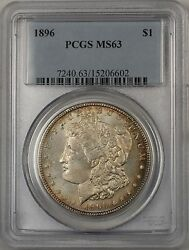 1896 Morgan Silver Dollar 1 Coin Pcgs Ms-63 Lightly Toned Semi Pl Br-23c