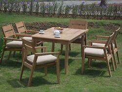 Vellore A-grade Teak Wood 7pc Dining 60 Rectangle Table 6 Stacking Arm Chair Set