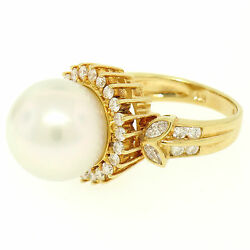 18k Yellow Gold Large 13.3mm South Sea Pearl Ring W/ Marquise And Round Diamonds
