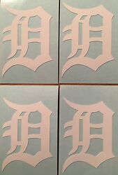 Detroit Tigers Old English D 4 Pack White Decals 1.38quot;x 2quot;quot;**FREE SHIPPING**