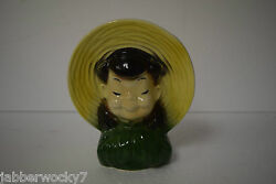 Vintage Royal Copley Oriental Asian Chinese Girl Child Wall Pocket Head Vase