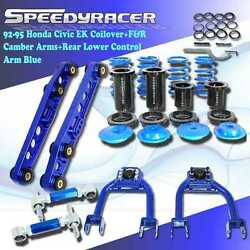 For 92-95 Honda Civic Coilover+fandr Adj. Camber Kit+rear Lower Control Arm Blue
