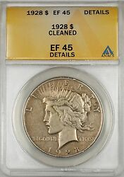 1928 Peace Silver Dollar 1 Coin Anacs Ef-45 Details Cleaned 10