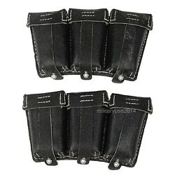 Pair Wwii German Mauser 98k Triple Ammo Leather Ammunition Pouch Black-gm047
