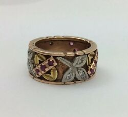 Vintage Antique Tri Color 14k Gold Diamond Ruby 9mm Wide Band Ring Size 5.75