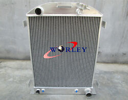62mm 3 Core Aluminum Radiator For Ford Hi-boy Grill Shells Chevy Engine 1932 32