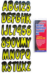 3 Inch Yellow/black Shaded Boat Lettersnumbersstickersnumber Kit
