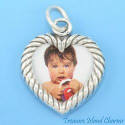 Double-sided Heart Picture Photo Frame 925 Solid Sterling Silver Charm Pendant