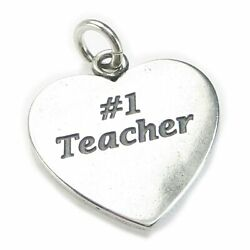 Number 1 Teacher Sterling Silver Charm .925 X 1 Teaching Charms
