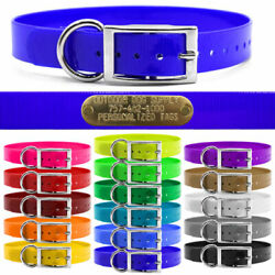 Hunting Dog Name Collar Strap 1 Solid Color D Ring And Free Brass Id Plate