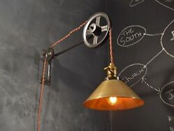 Vintage Industrial Pulley Light - Wall Sconce Lamp Steampunk Drafting Pool Table