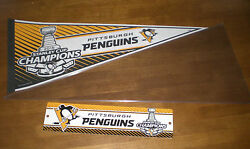 2016 Pittsburgh Penguins Stanley Cup Champions Pennant And Street Sign - New
