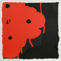 Donald Sultan And039black And Red Poppiesand039 Signed Ltd Ed Silkscreen W/ Flocking Print