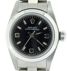 Ladies Rolex Stainless Steel Oyster Perpetual Watch W/black Arabic Dial 76080