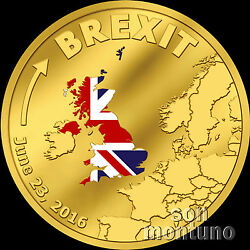 Brexit Coin 1/10 Tenth Oz 24k Gold Proof - June 23 2016 Cook Islands 20 Dollars
