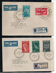 Israel Scott C1-c6 First Airmails Private First Day Cover Set Of Two