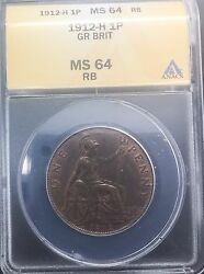 1912 H George V Ms64 Penny Choice Mint State Beauty Anacs