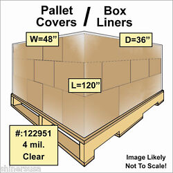 Pallet Covers / Bin Box Gaylord Liners 48x36x120 Clear 4 Mil Roll/25 122951