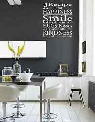 A RECIPE FOR HAPPINESS.... Wall Quote Stickers Wall Decals kitchen Living Room