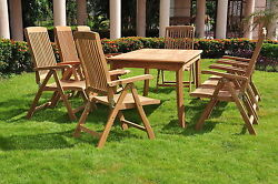 Marley A-Grade Teak 9pc Dining 82 Rectangle Table 8 Reclining Folding Arm Chairs