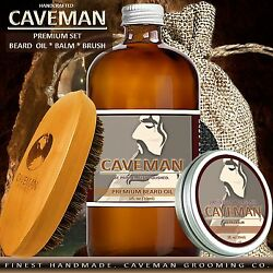 Hand Crafted Caveman® Beard Oil Conditioner Beard Balm Brush KIT 18 Scents