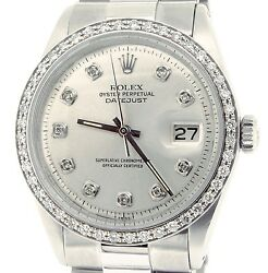 Rolex Datejust Stainless Steel W/ President Band Silver Diamond Dial 1.0ct Bezel