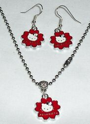 Red Hello Kitty Earrings and Necklace Set Stainless Steel Chain made in the USA