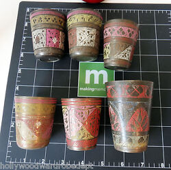 Brass Shot Glass Vtg Etched Enamel India Enamel Color Inlay Small Cup Antique
