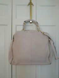 Large Charles David Leather Eloise Tattle Bag Tote Brief Case Bone $335