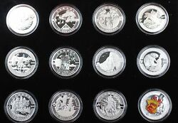 2013 Canada 10 Sterling Silver 12 Matte Proof Coin Set Colorized Maple Leaf