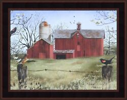 Harbingers Of Spring By Billy Jacobs 15x19 Framed Picture Red Barn Robin Birds