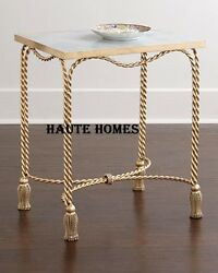 New Designer Horchow Tassel Gold Iron Marble Top Side End Accent Table
