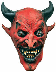 Devil Demon Adult Classic Red Mask With Black Horn And Eyes Distortions