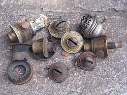 Antique Lot Of Oil Lamp Burner Parts Aladdin And Others