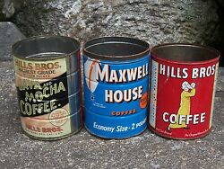 Hills Brothers Maxwell House Tin Coffee Can Java Mocha Vintage Kitchen Decor Old