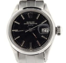 Vintage Rolex Date Lady Stainless Steel Watch Oyster Domed Bezel Black Dial 6517
