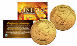 Susan B. Anthony 1 Dollar Coin Authentic 24k Gold Plated W/ Coin Capsule And Coa