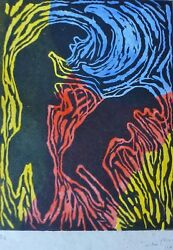 Victor Mira Composition 1983 Hand Signed Numbered 5/6 Woodcut Spanish Artist