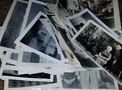 Vintage Black And White Photo Lot 100 Images Family Women Men Children Great Mix