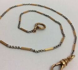 Platinum And 18k Pink/rose Gold Pocket Watch Fob Chain 15