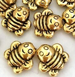 25 Antique Gold Pewter Honey Bee Happy Face Beads 8mm